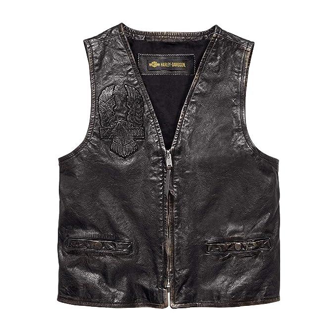 Amazon.com: Harley-Davidson - Chaleco de piel para hombre ...