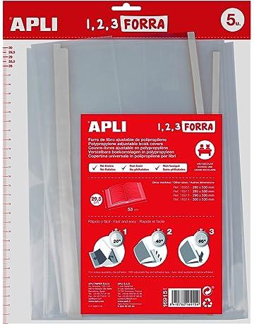 Apli Kids 16915 - Pack de 5 forros de libros, solapa ajustable PP, 295