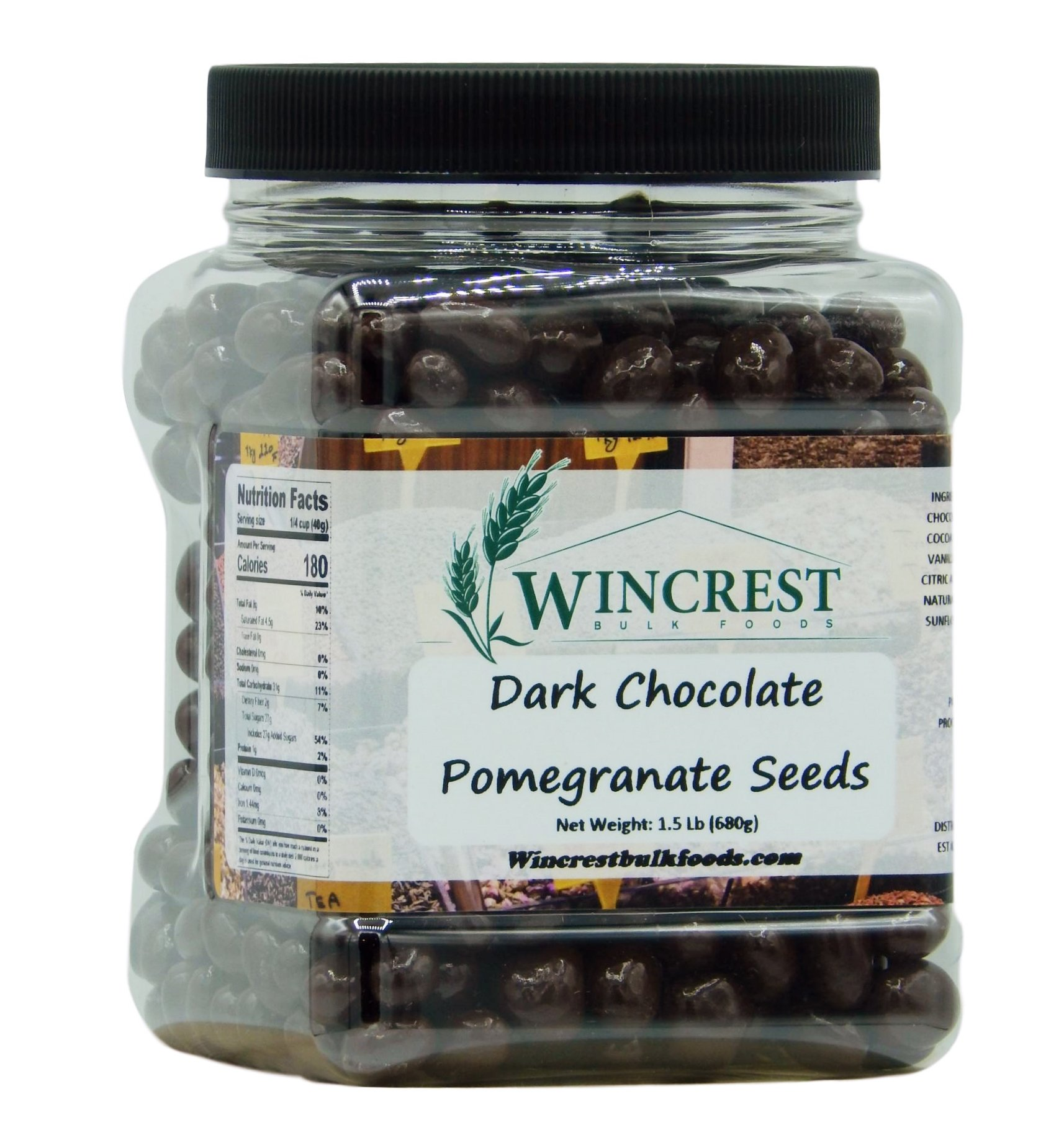 Dark Chocolate Covered Whole Pomegranate Seeds (Arils) - 1.5 Lb by WinCrest BulkFoods