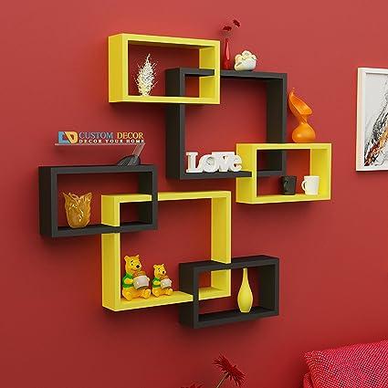 Custom Decor Wall Shelf Rack Set Of 6 Intersecting Floating Shelves