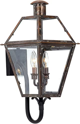 Quoizel RO8311AC Rue De Royal Outdoor Wall Lantern Wall Mount Lighting, 2-Light, 120 Watts, Aged Copper 24 H x 11 W