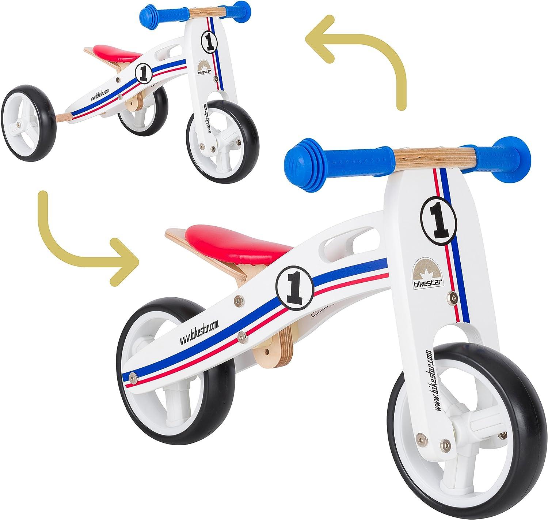 BIKESTAR Bicicleta de Equilibrio de Madera para niños de 18 Meses | 7 Pulgadas Convertible Mini 2 en 1 Bicicleta y Triciclo | Blanco Azul Rojo