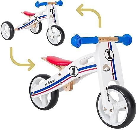 BIKESTAR 2 in 1 Bicicleta sin Pedales Madera para niños y niñas Bici Ajustable 7 Pulgadas