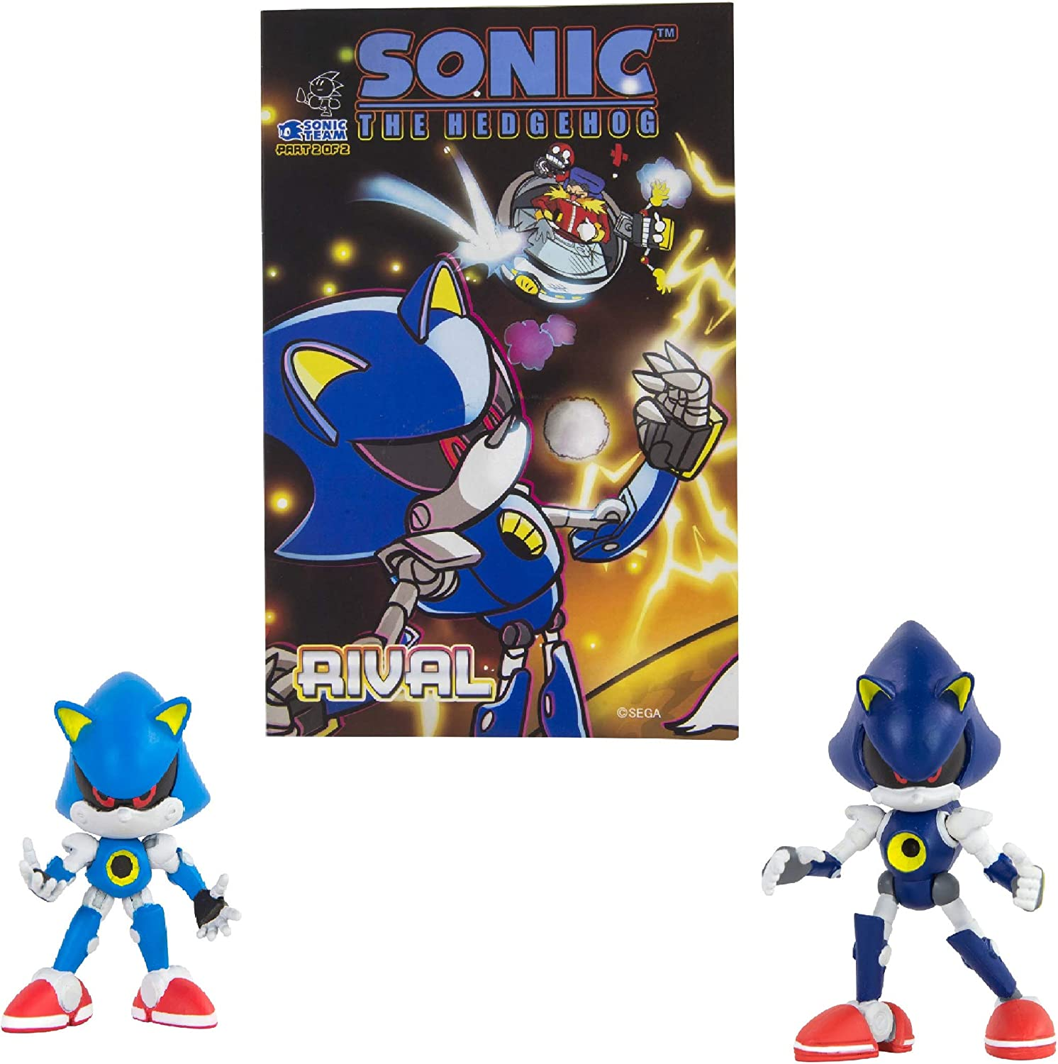 Amazon Com Sonic Classic Metal Sonic Modern Metal With Comic Book Official Licensed Product From Tomy Includes Original Comic Book Toys Games