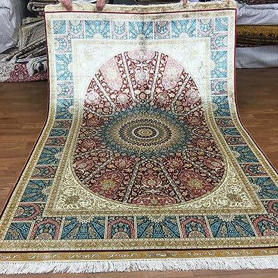 Yuchen New 5.5x8 Traditional Blue Qume Handmade Pure Silk Carpets Oriental Floral Persian Rug