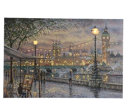 Decorazioni Natalizie Londra.Quadro Con Scene Natalizie Londra Innevata Led 2 5x40x60cm Natale