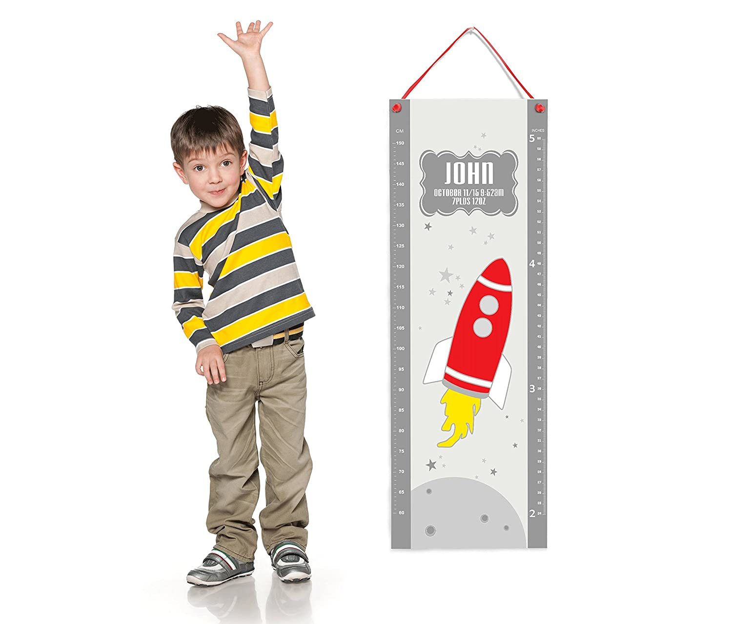 Personalized Red Rocket Grey Outer Space Themed Measurement Growth Chart for Bedroom Wall
