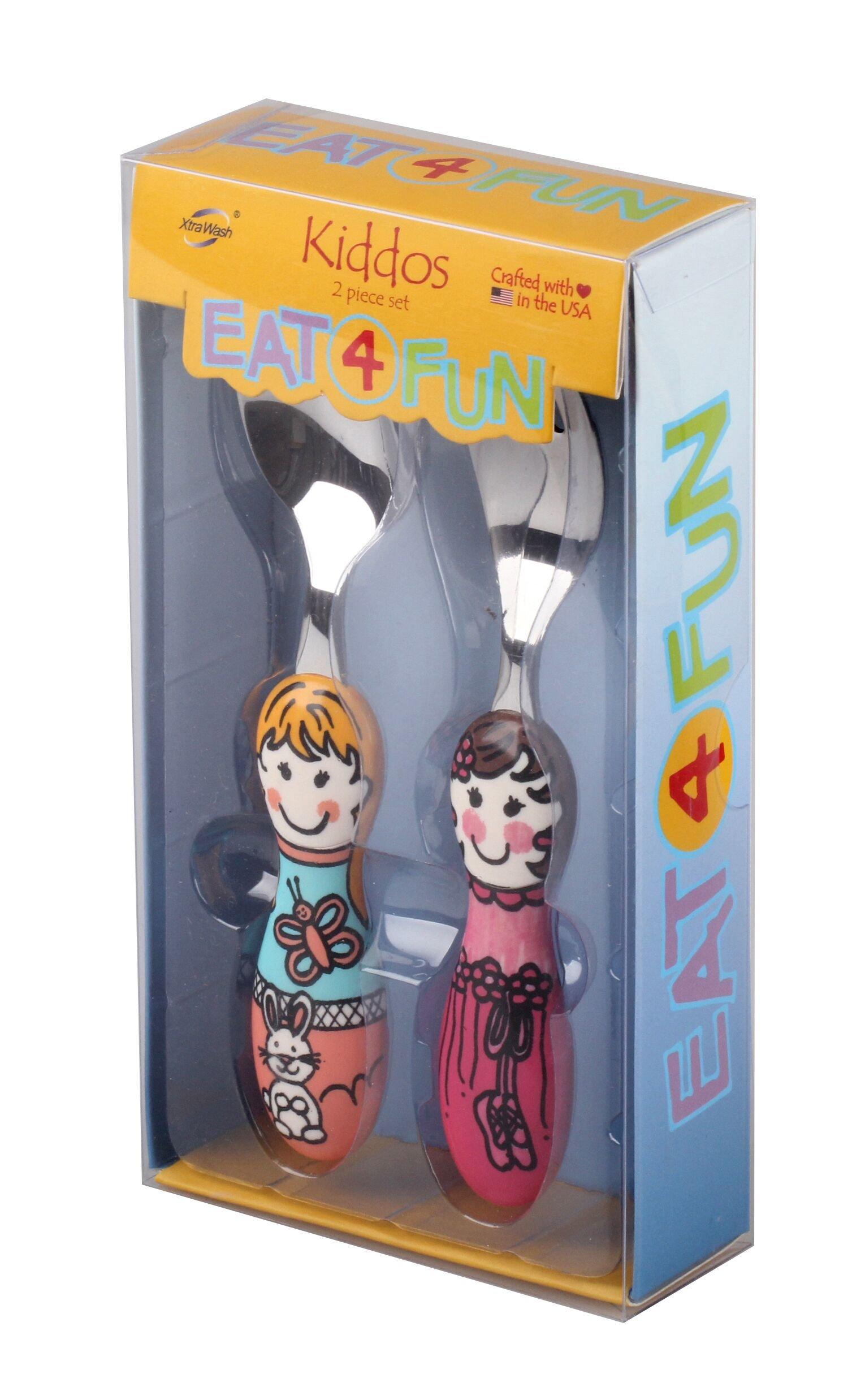 Eat4Fun Kiddos Collection Kids 2-Piece Spoon & Fork Gift Set, Louise & Bianca