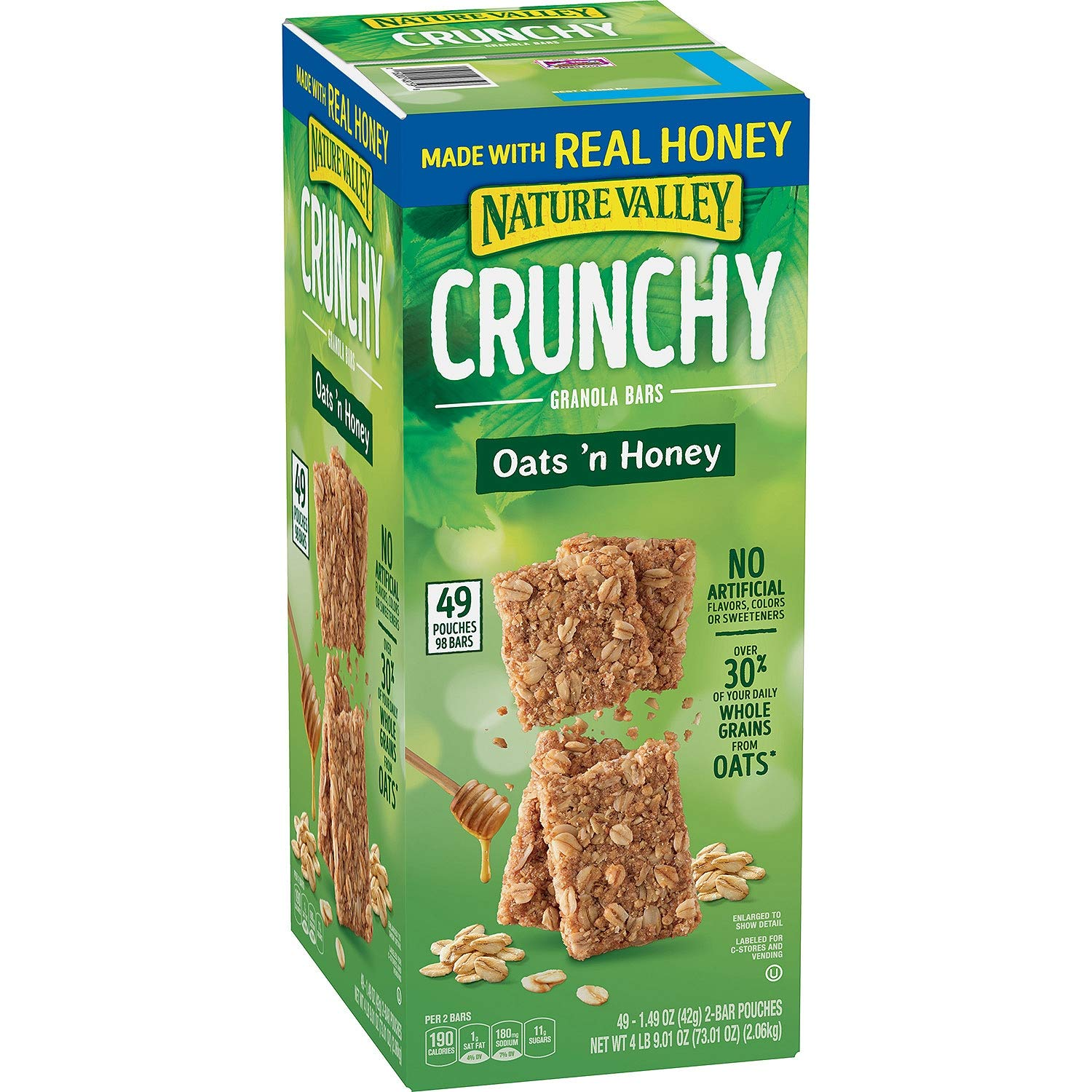 Nature Valley Crunchy Granola Bars Oats 'N Honey - 98 Bars Of 2 bar Pouches of 49ct-1.49oz