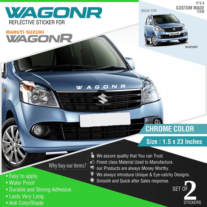 Carmetics wagonr reflective sticker for wagon r front and rear chrome vinyl amazon in car motorbike