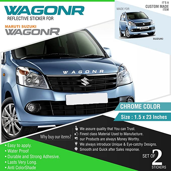 Carmetics wagonr reflective sticker for wagon r front and rear chrome vinyl amazon in car motorbike
