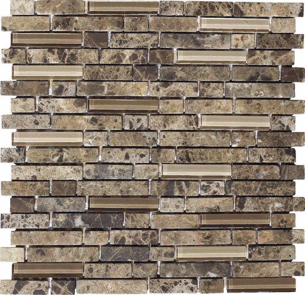1 carton/11 SQFT - 12''x12'' Random Linear Stone and Glass Mosaic Tile - River Bed by Thomas Avenue Ceramics