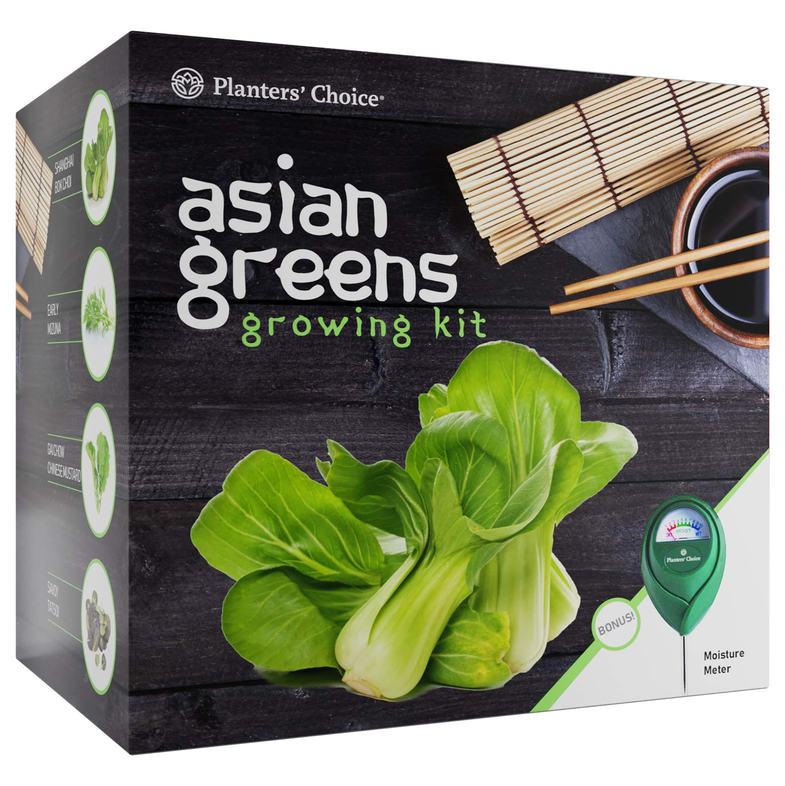 Asian Greens Growing Kit - Everything Included to Easily Grow 4 Traditional Asian Greens from Seed + Moisture Meter: Bok Choi, Mizuna, GAI Chow, Savoy Tatsoi