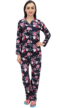 220c7271ec Bimba Black Button-Down Shirt with Elastic Waist Pajama Pant Night Wear-8