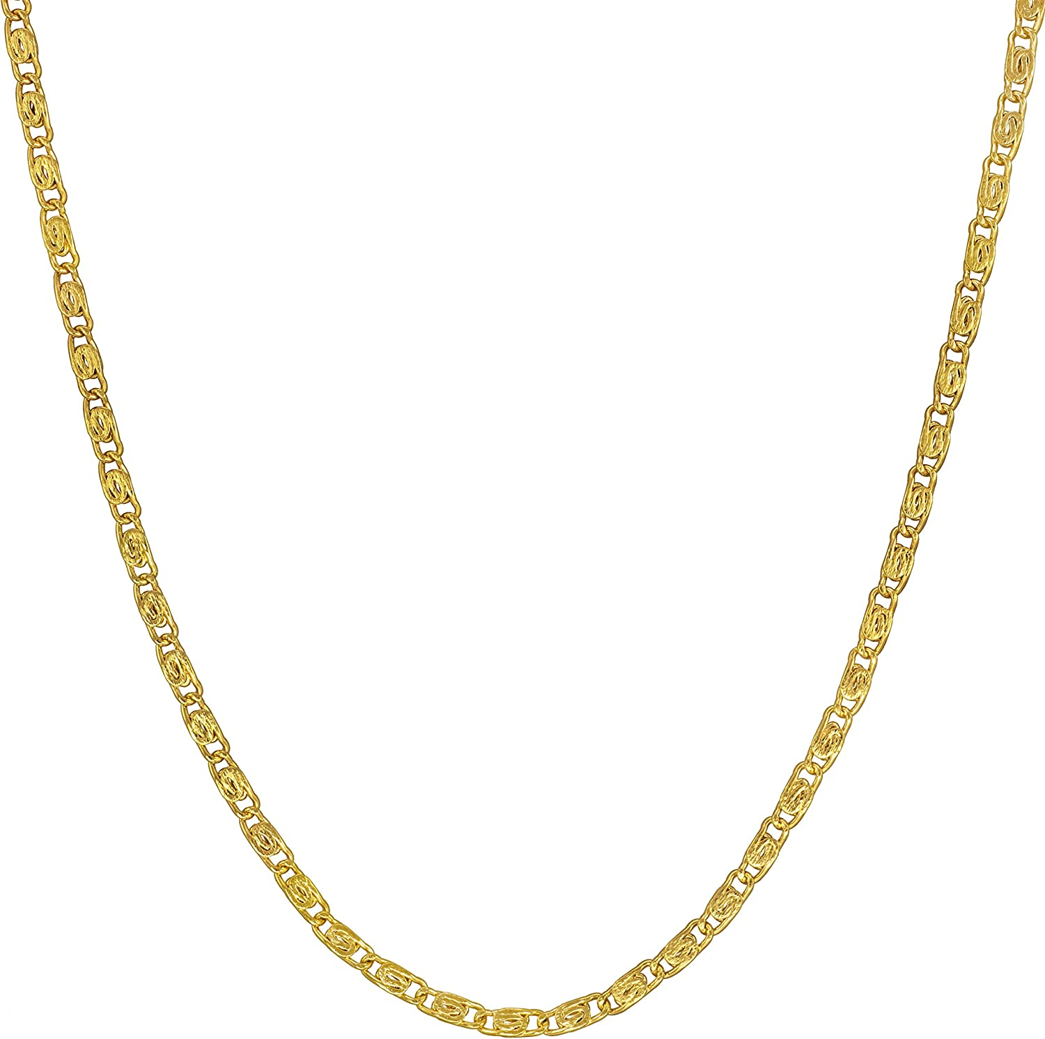 Lifetime Jewelry Gold Necklace for Women & Men [ 1.9mm Scroll Link Chain ] 20X More Real 24k Plating Than Other Dainty Pendant Chains - Cute and Durable - Lifetime Replacement Guarantee 16-30 inches