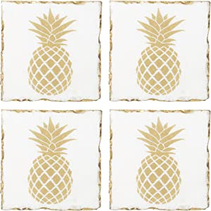 Home Essentials Square Pineapple Marble Coasters With Gold Edge Set Of 4