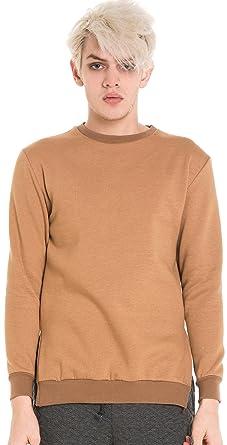Pizoff Unisex Hip Hop Urban Basic Design Sweatshirts in Beige mit  fleecefutter Seitenschlitzen und abfallendem Saum