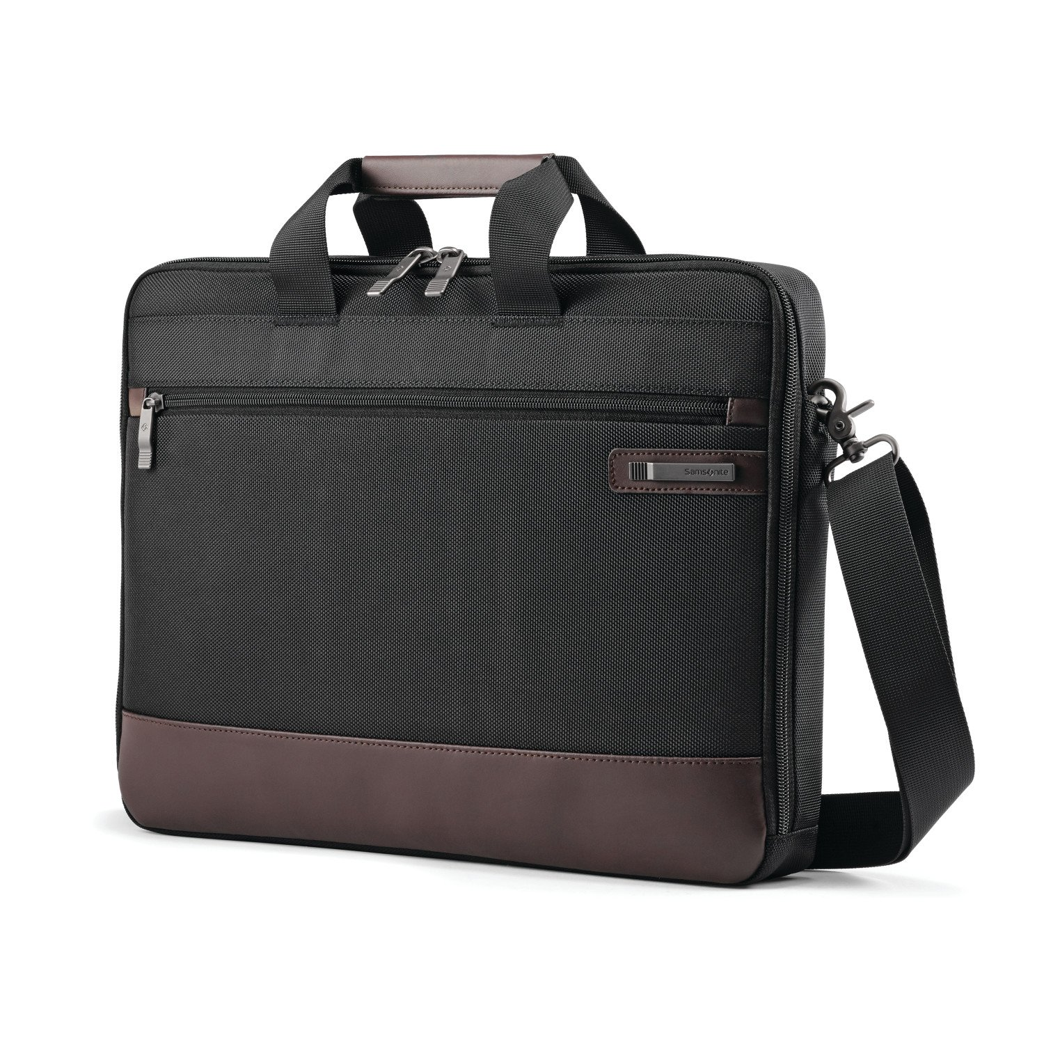 Samsonite Kombi Slimbrief Briefcase, Black/Brown Samsonite Corporation 92315-1051