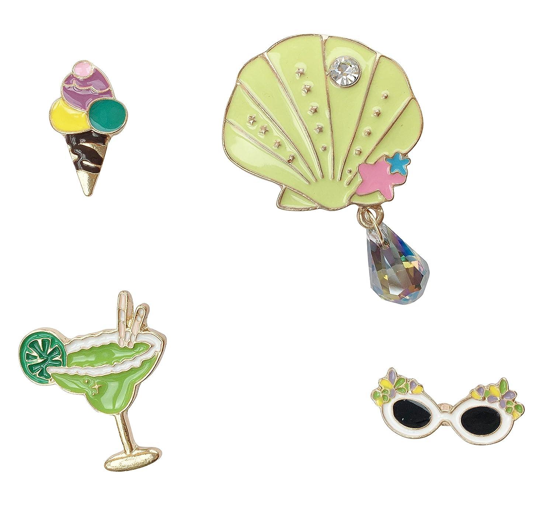 Broche Broche Badge Pins m/étal Broche Coquillage Lot de 4/Cocktail Ice Cream Lunettes de soleil