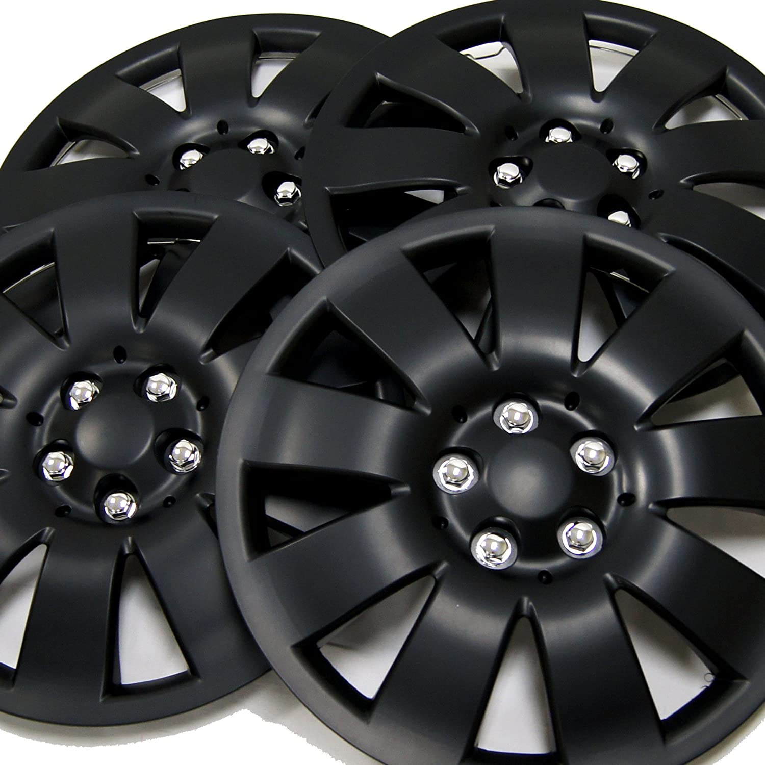 17-Inches Style Snap-On Tuningpros WC3-17-721-B Pop-On Pack of 4 Hubcaps Type Matte Black Wheel Covers Hub-caps