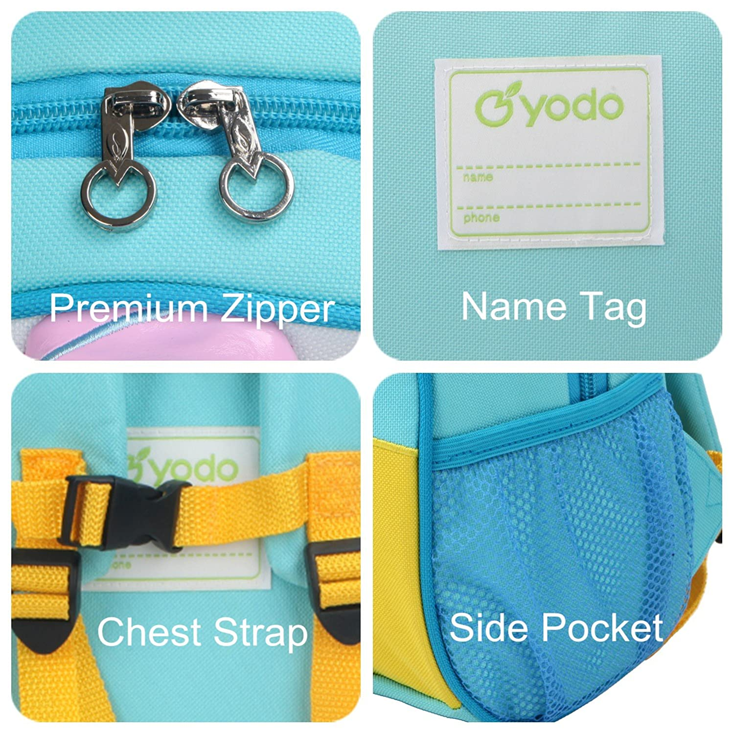 Shark Playful Preschool Kids Lunch Bag Yodo Upgraded Kids Insulated Toddler Backpack with Safety Harness Leash and Name Label