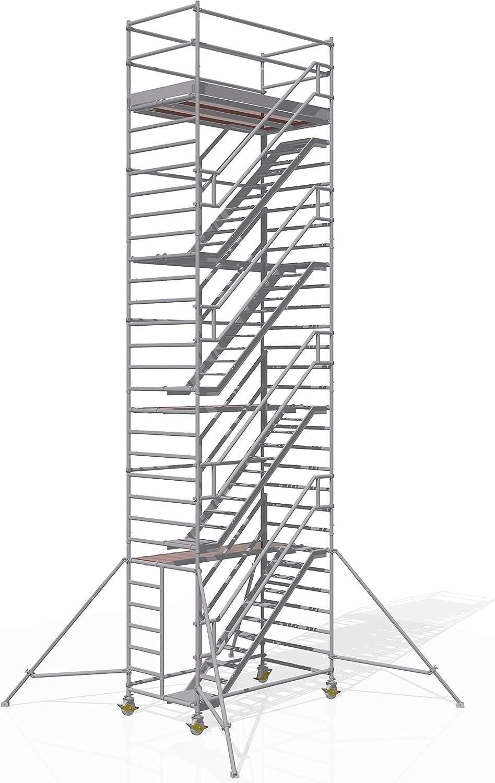 ALTEC - Torre para escaleras (2,5 m x 1,3 m, fabricado en Alemania, certificado TÜV, aluminio): Amazon.es: Bricolaje y herramientas