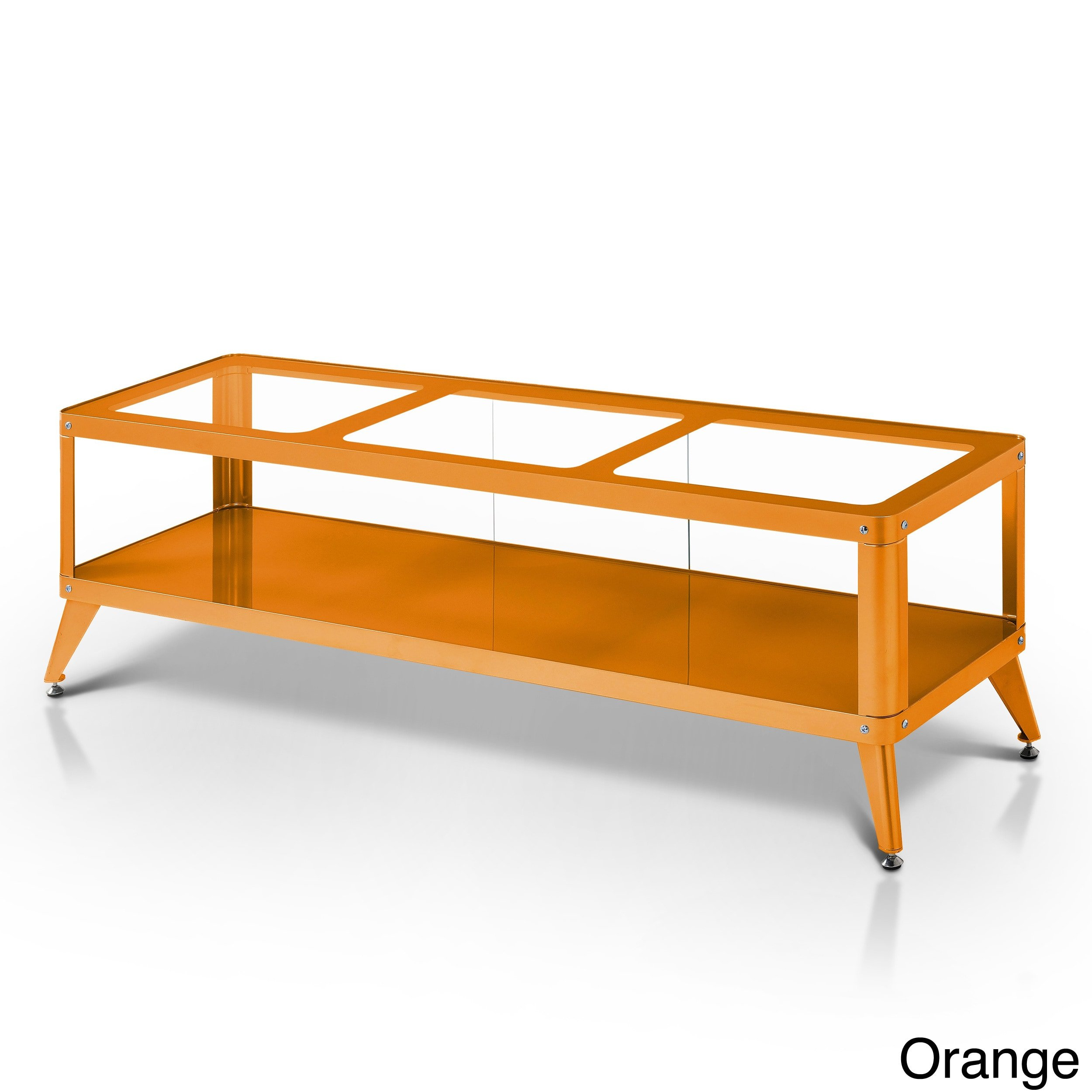 Furniture of America Linden Modern Glass Top TV Stand Orange 72