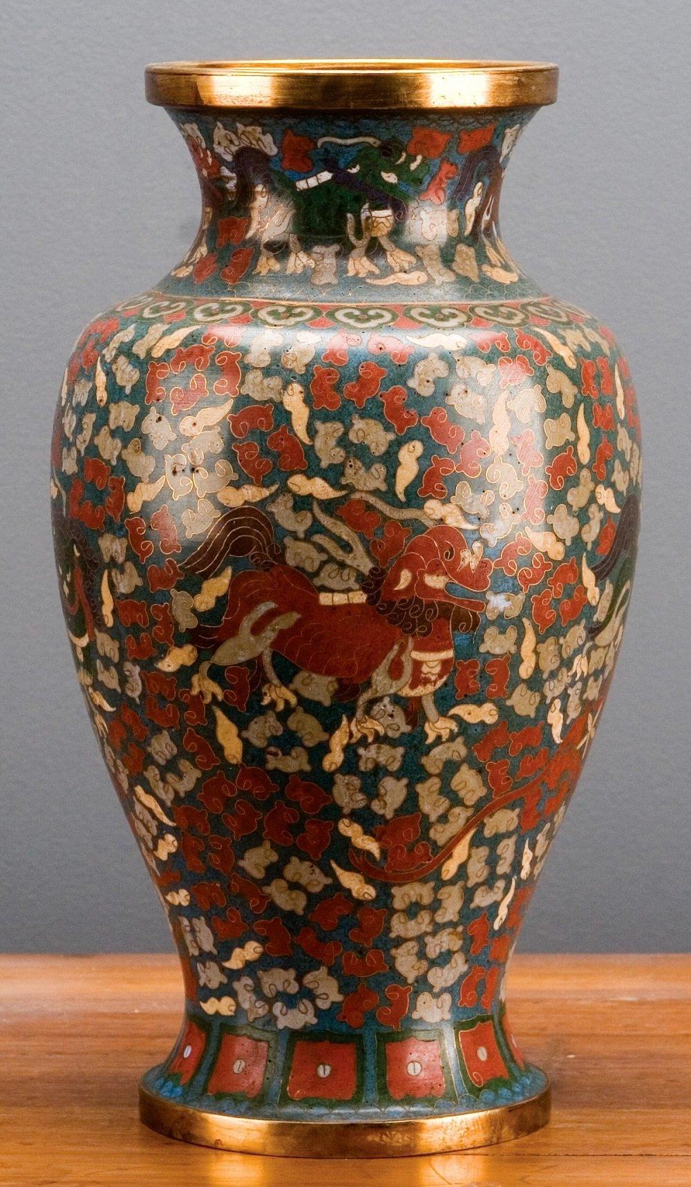 Home decor. Red Oriental Dog Classic Cloisonne Vase. Dimension: 6 x 6 x 12. Pattern: Cloisonne.
