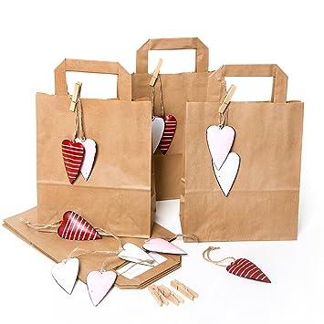 12 pequeñas marrón papel kraft bolsa de regalo 18 x 22 x 8 ...