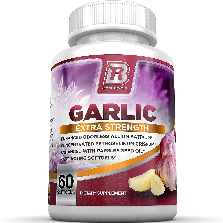 BRI Nutrition Odorless Garlic - 60 Softgels - 1000mg Pure and Potent Garlic Allium Sativum Supplement (Maximum Strength) - 30 Day Supply