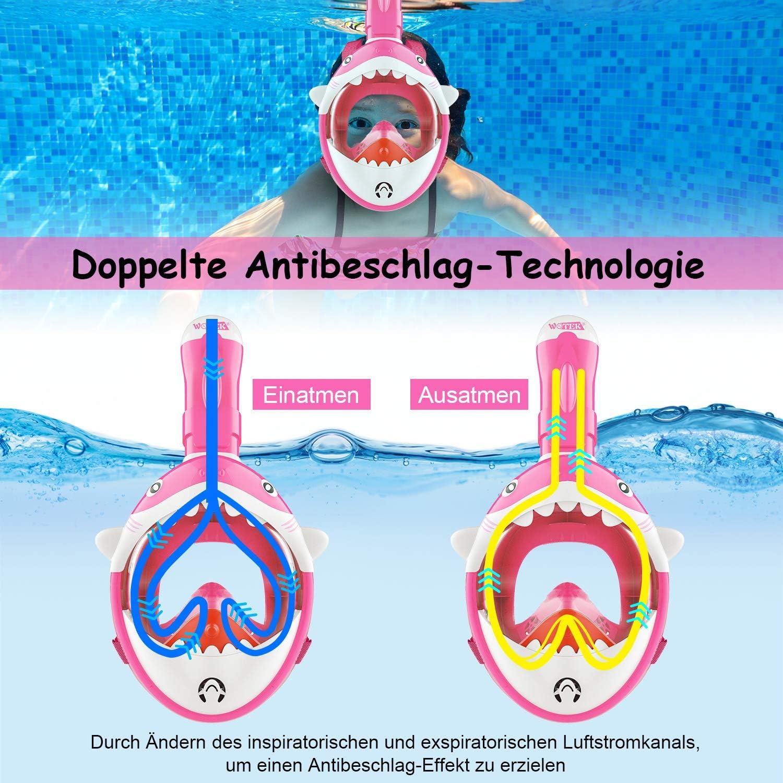 Anti-Leck und Wasserdicht Full Face Snorkel Mask ISUDA Schnorchelmaske Vollmaske,Tauchmaske f/ür Kinder,Faltbare Vollgesichtsmaske mit 180/° Sichtfeld und Kamerahaltung Anti-Beschlag