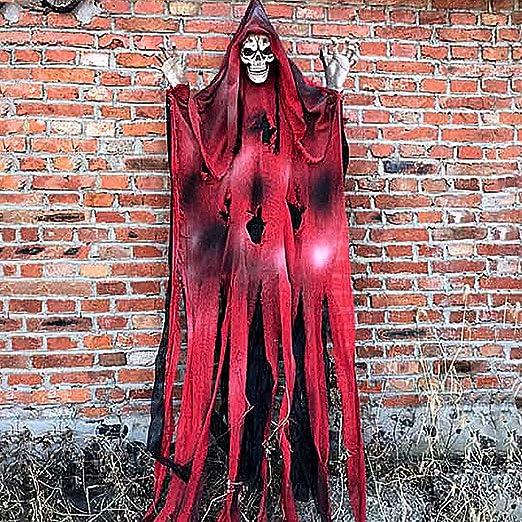 78henstridge Halloween Hangender Geist Horror Halloween Deko Garten Geist Horror Figuren Zombie Geist Augen Glanzend Sound Gesteuerte Rot Amazon De Kuche Haushalt