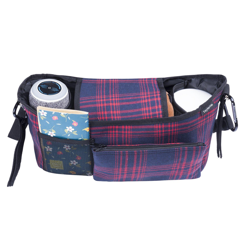 Universel Organisateur//sac de rangement pour Poussettes et Landaus avec des poches et un porte-monnaie d/étachable rouge