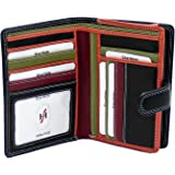 STARHIDE Ladies Compact Soft Leather Multi coloured Purse Wallet Credit Card Slots, ID & Coin Pocket Gift Boxed - 5535