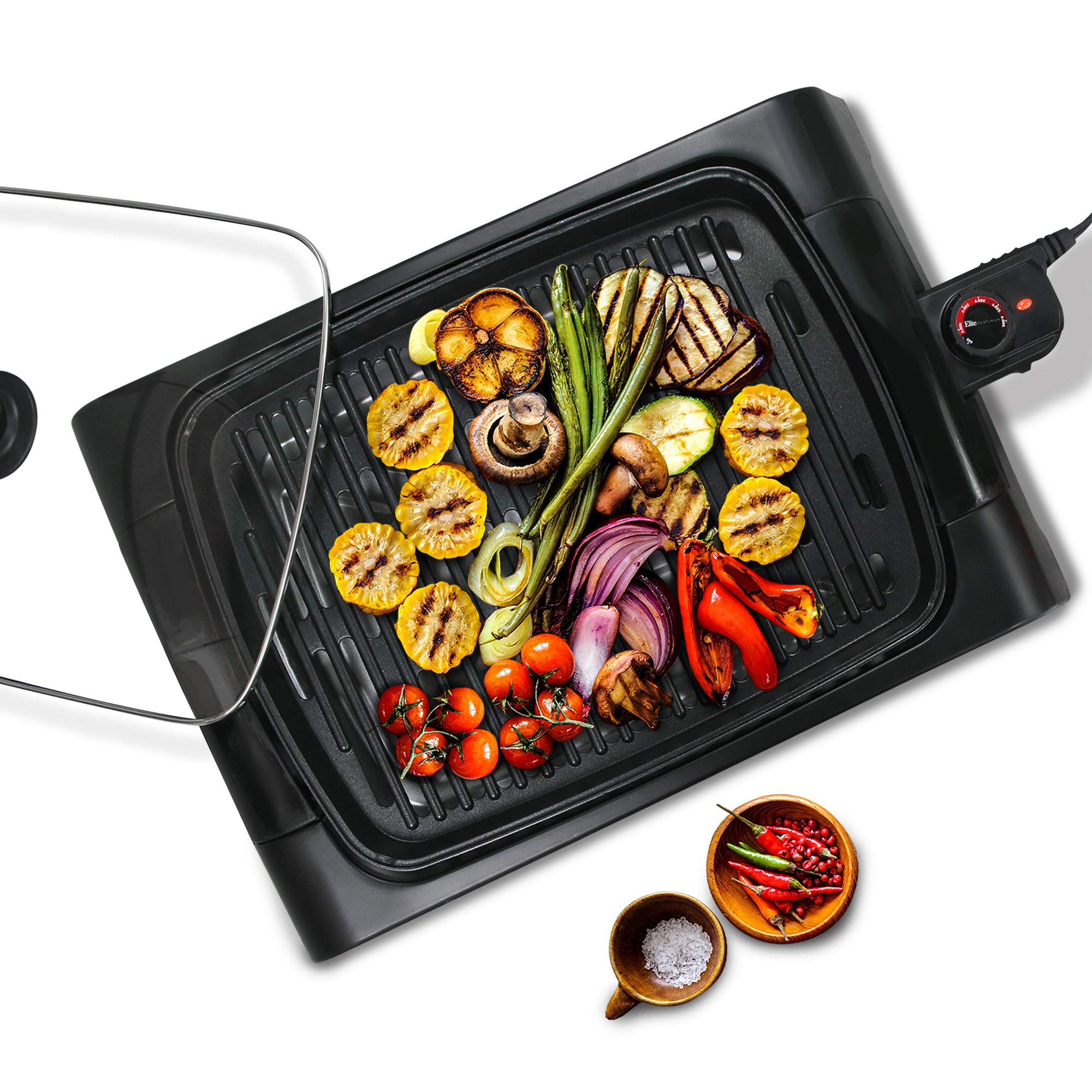Maxi-Matic EGL-6501 XL Indoor Electric, Nonstick Grilling Surface, Faster Heat Up, Ideal for Meat Fish, Vegetables & Low-Fat Meals, Easy To Clean Design, 16'' x 12'' Square, Black by Maxi-Matic