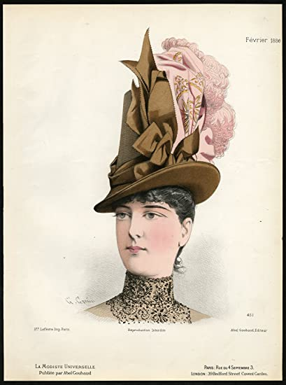 Amazon.com  Antique Fashion Print-451-MILLINERY-19TH CENTURY-HAT ... 26764c9f322