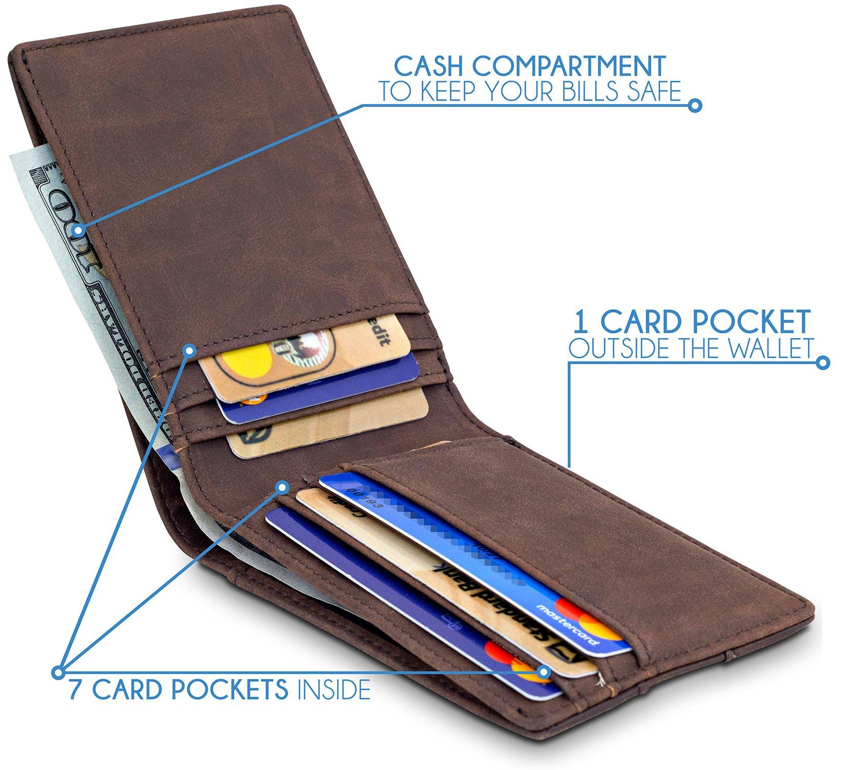 TRAVANDO Slim Wallets BUFFALO - RFID Blocking Wallet - 8 Card Pockets - Mini Credit Card Holder - Travel Wallet - Minimalist Bifold Wallet for Men with Gift Box by Travando (Image #2)