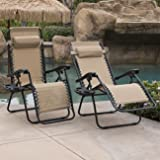 Belleze Zero Gravity Chairs Tan Lounge Patio Chairs Outdoor Yard Beach + Cup Holder (Set of 2)