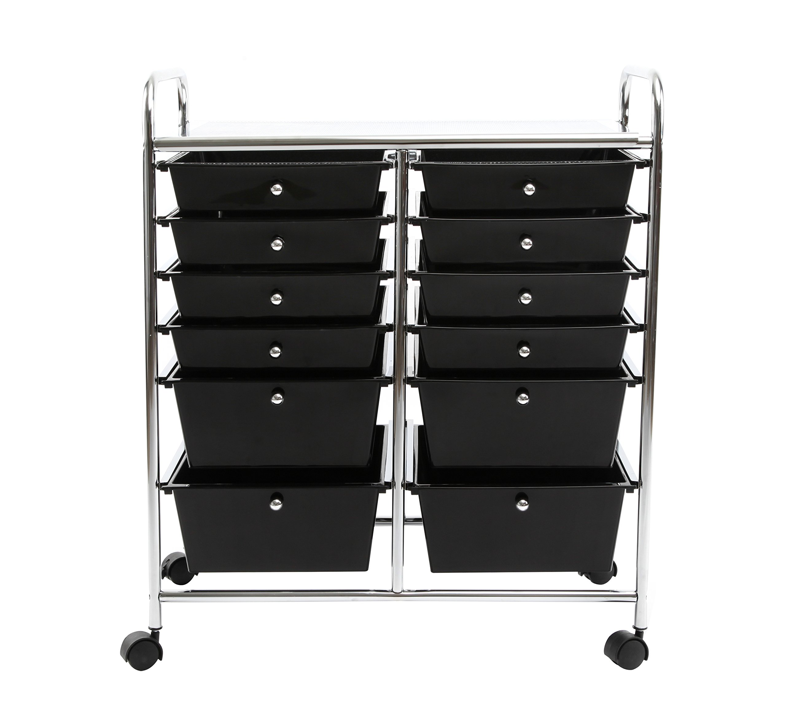 Finnhomy 12-Drawer Plastic Portable Mobile Organizer, Multi-Purpose Utility Double Rolling Storage Cart, Bright Chrome Metal Frame and Smoke Drawer Studio Trolley