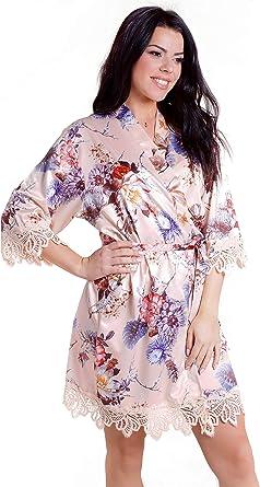 satin robe,chiffon trim lilac purple pink floral,white satin robe,bridesmaid kimono robe,Japanese floral satin robe,bridesmaid bath robe