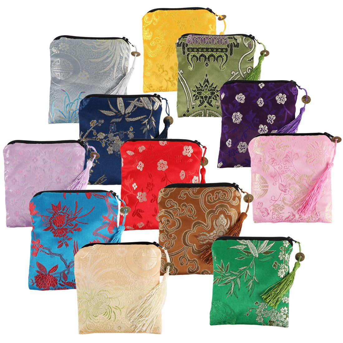 kilofly 12pc Silk Brocade Tasseled Coin Purse Zipper Jewelry Pouch Bag Value Set