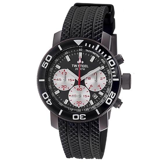 TW Steel Reloj cronógrafo para Hombre de Cuarzo con Correa en Caucho TW-704: Amazon.es: Relojes