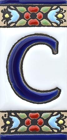 Image of ART ESCUDELLERS Numeros y Letras en azulejo Ceramica policromada, Pintados a Mano técnica Cuerda Seca. Nombres y direcciones. Diseño Flores Mini 7,3 cm x 3,5 cm. (Letra C)