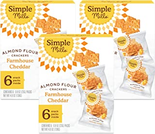 product image for Simple Mills Almond Flour Crackers, Farmhouse Cheddar Snack Packs, Gluten Free, Flax Seed, Sunflower Seeds, Corn Free, Good for Snacks, 3 Count (6 Bags per Box), (Packaging May Vary)