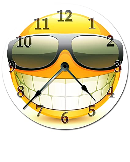 cool smiley face with sunglasses clock extra large 155 to 16 wall clock