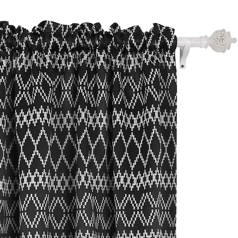 Deconovo Trellis Printed Blackout Curtains Rod Pocket Room Darkening Curtains for Living Room 42W x 84L Inch Black 2 Panels