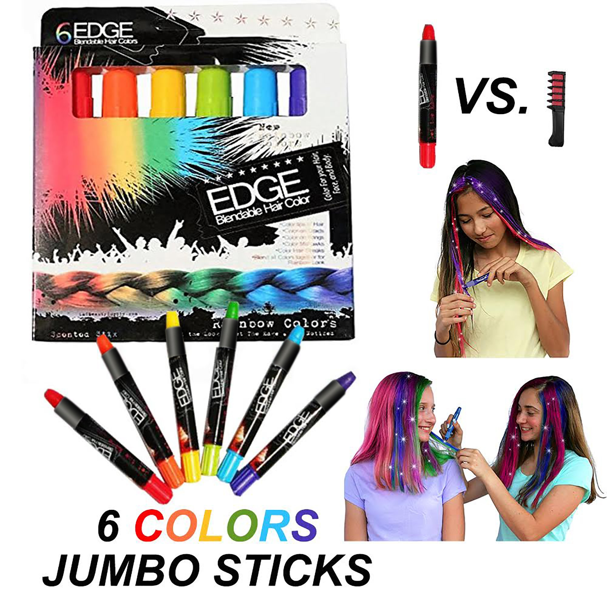 Kids Hair Chalk Scented Rainbow Non Toxic Washable Hair Color Safe For Kids And Teens. For Party, Girls Gift, Kids Toy, Birthday Gift For Girls, 6 Bright Colors by Edge Stix