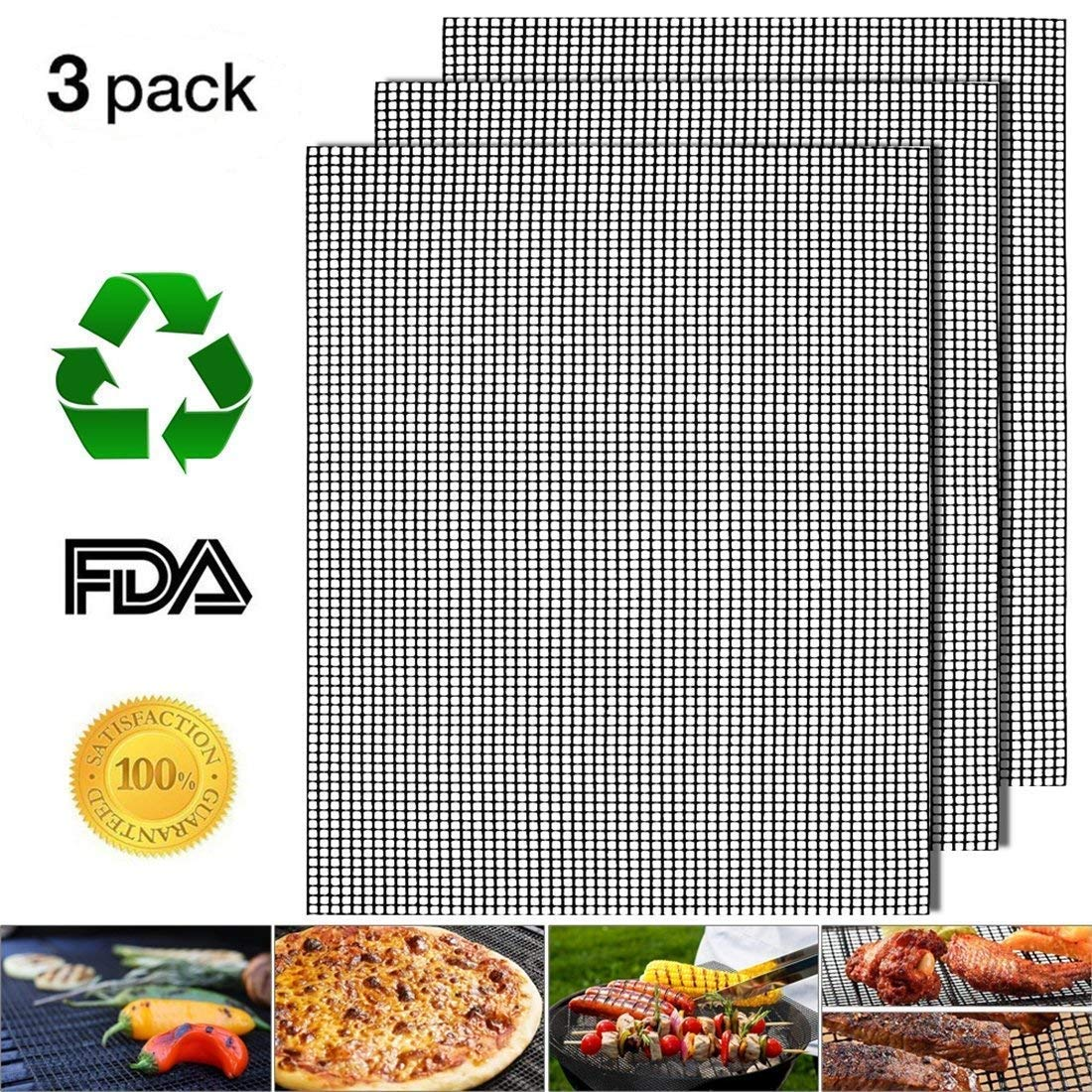 Nonstick Barbecue Grill Mesh Mat Set of 3, BBQ Grilling & Baking Sheet Liner, Reusable Grill Accessories for Grilled Vegetables/Fish/Fajitas/Shrimp, Use on Gas, Charcoal, Electric Barbecue - 17'' x 13'' by YEAKOO