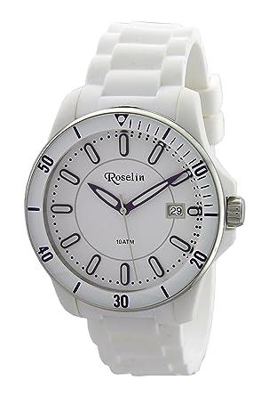 Roselin, correa silicona blanco, caja acero, calendario, 10 ATM: Amazon.es: Relojes