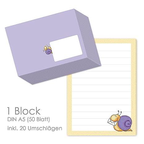 caracoles Post - Papel para cartas (DIN A5 (renglones 50 ...